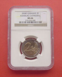 Old Coins Rare Coin Germany 2008 Hamburg €2 Bimetal Ngc Ms66 Back Side Map Style