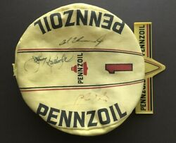 Vintage Car Racing Pennzoil Hat Signed By Al Unser Jr. And Johnny Rutherford