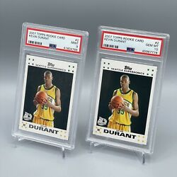 Lot 2 2007 Topps Rookie Card 2 Kevin Durant Supersonics Rc Rookie Psa 10 And 9