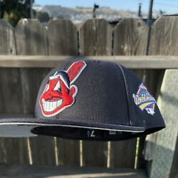 7 1/4 Gray Uv Hat Club Exclusive Cleveland Indians 1997 World Series Fitted
