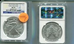 2014 American Silver Eagle 1 Ounce .999 Fine Coin Ngc Ms70 Er 4440p