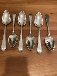 6 Gorham Old Colony Eng Sterling Silver Serving Spoons 8.5andrdquo