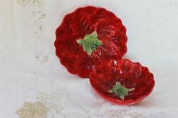 Maxcera New Noel Poinsettia Shaped Small And Large Serving Bowls - Red - 2pc Set