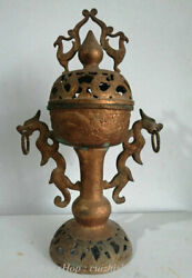 18 Rare Old Chinese Bronze Ware Dynasty Palace Dragon Beast Phoenix Censer