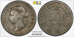 Hong Kong Queen Victoria Silver 50 Cents 1894 With Obverse Of 1893 Pcgs Vf30