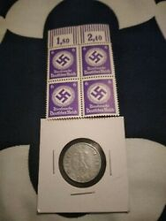 Ww2 Nazi 3rd Reich Stamp Swastika Purple Hitler 6 Stamps 10rp Coin 1941