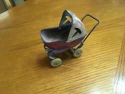 Vintage Wyandotte Metal Toy Doll Baby Carriage, Buggy, Stroller 3 Wheels Parts