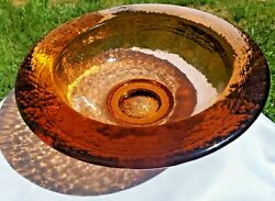 Stunning Fire And Light Recycled Glass Copper Wide Lipped Bowl