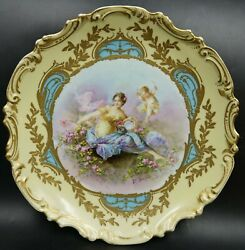 Art Nouveau French Sevres Porcelain Lady And Putti Wall Plaque Charger By Delys