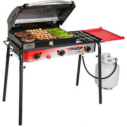 Camp Chef Big Gas Grill 3-burner Outdoor Stove With Bbq Box Accessory, Black