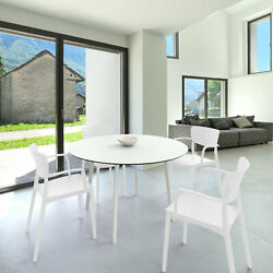 Siesta Lisa Round Dining Set With 47 Inch Table And Armcairs Isp6751s-whi-whi