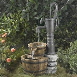 Handcrafted Classic Outdoor Water Pump Half Whiskey Barrel Basin Style Fountain