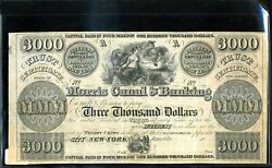 3000 Morris Canal And Banking Remainder Note Circa 1837 In Xf Condition