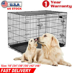 18/24/30/36/42/48 Extra Large Dog Crate Kennel Cat Pet Cage Metal Black Us
