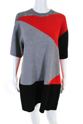 Proenza Schouler Womens Graphic Jacquard Knit Dress Gray Red Large 11649408