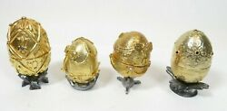 Michael Ricker Pewter Figures Signed Set Of 4 Gold Eggs, Christmas Presents