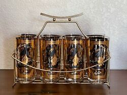 Beautiful Set Of 8 Vintage Fred Press Black Trojan Horse Tumblers With Carrier