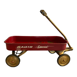 Vintage 1940s Radio Special Flyer Red Wagon Toy Ride On Antique