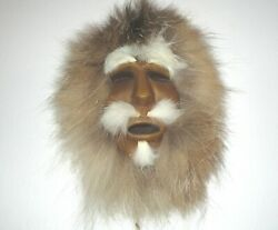 Hand Carved Mask Wood With Lynx Fur Alaskan Fossil Products Vintage 6 X 4