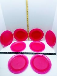 Tupperware Plates Set Of 8 Round 8 Dessert Lunch Dishes Flamingo Pink 4717a-1