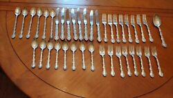 French Scroll By Alvin Sterling Silver Flatware 39 Pieces C49