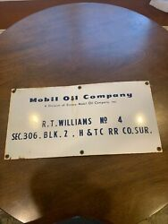 1950s Mobil Oil Company Porcelain Lease Sign A Division Of Socony Mobil Oil