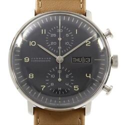 Junghans 027 / 4501.01 Max Bill Chronoscope Automatic Leather Belt 40mm F/s
