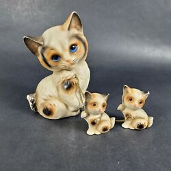 Vintage Figurines Cat with Set of 2 Kittens on Chain Porcelain