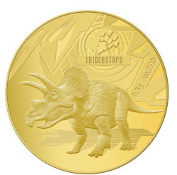Triceratops Dinosaurs 0.5g Gold Coin 10 Solomon Islands 2021