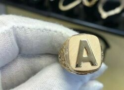 Solid Metal Menand039s Personalize Initial Letter With Antique Design Ring 925 Silver