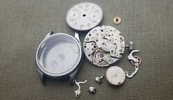 Vintage Stainless Steel1940and039s Heuer Big Eyes Valjoux 23 For Parts