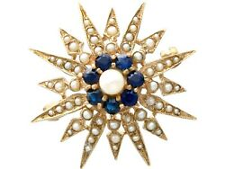 Vintage 0.79ct Sapphire And Pearl 9ct Yellow Gold Star Brooch Victorian Style