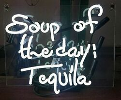 New Soup Of The Day Tequila Neon Sign 14x10 Light Lamp Bedroom Decor Beer Gift