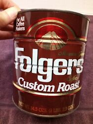Vintage 1991 Folgers Coffee Can Custom Roast 2 Pounds No Lid Empty 50887