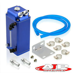 Blue 7x3x2.5 Square Oil Catch Can Tank Reservoir Kit W/ Drain Plug For Toyota