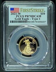 2021-w 1/4 Oz 10 Proof Gold American Eagle Pcgs Pr70 Dcam Type 1 First Strike
