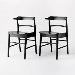 2pk Kaysville Curved Back Wood Dining Chair Black Studio Mcgee