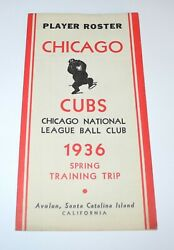 1936 Baseball Chicago Cubs Spring Training Player Roster Program Schedule Guide