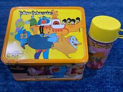Original 1968 Beatles Yellow Submarine Lunchbox With Thermos Free Shipping