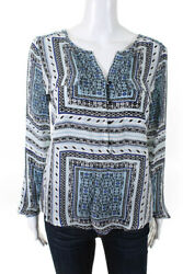 Parker Womenand039s Long Sleeve V-neck Blouse Silk Blue Black White Size Extra Small