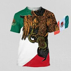 Mexico Aztec And Eagle 3d Full Over Printed Men T-shirt Size M-4xl