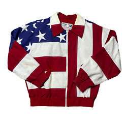 Vintage American Flag Jacket 90s All Over Print Usa 4th Of July America Large