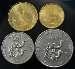 French Afars And Issas 10-20-50-100 Francs 1968/70 Unc/bu 4 Coins