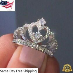 Women Crown Jewelry 925 Silver Rings White Sapphire Wedding Ring Size 6 10 $3.99
