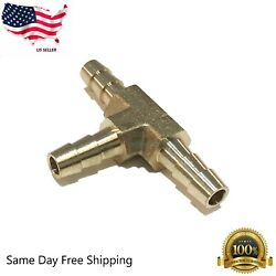 1/4 Hose Barb Tee Brass Pipe 3 Way T Fitting Thread Gas Fuel Water Air M539