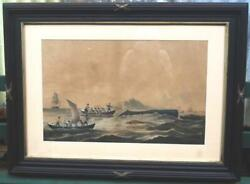 Antique Whale Whaling Print Chase 1859 Frame 22 X 32