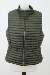 Massimo Dutti Olive Quilted Down Vest Gilet Size Xl