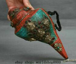 9.2 Old Tibet Buddhism Turquoise Coral Silver Buddha Conch Shell Trumpet Horn