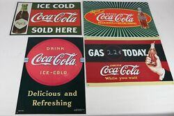 Lot Of 4 Vintage 1990and039s Coca Cola Brand Metal Advertising Signs Decor 17 X 12
