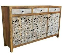 Indian White Distressed Flower Carved Home Sideboard Cabinet Storage Self